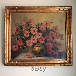1923 Impressionist Painting Signed Goltz Flowers Newcomb Macklin Style Frame Vtg