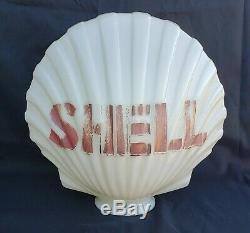 1930's 1940's Original Shell Oil Milk Glass Clam Shell Gas Pump Globe Vintage