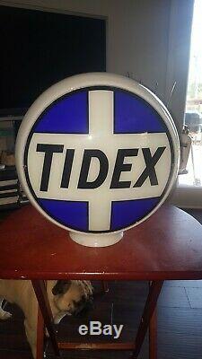 1930's Gas Pump Globe Tidex Oil Milk Glass Vintage Very Rare Original Excellent