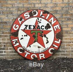 1930s 42 Texaco Gasoline Motor Oil Double-Sided Porcelain Vintage Sign Gas