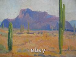 1930s ARIZONA DESERT SAGUARO CACTUS Oil Painting SUPERSTITION MOUNTAIN vintage