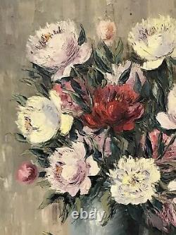 1950's FRENCH STILL LIFE IMPRESSIONIST OIL PAINTING VINTAGE FLOWERS IN VASE