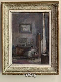 1950's French Signed Vintage Oil Interior Scene Lay Seated In Chair By Window