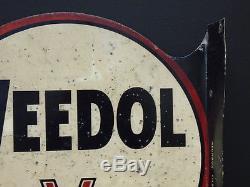 1950's Veedol Motor Oil double sided vintage metal garage sign AC Ford Lotus
