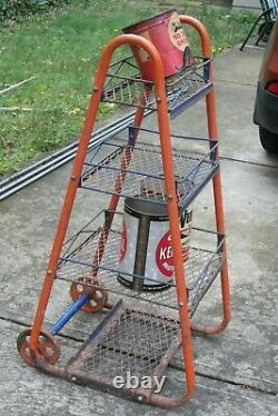 1950's Vintage Original Gulf Gas Station Oil Rack / with Cast Iron Wheels