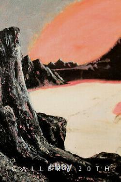 1959! MID CENTURY MODERN ORIGINAL OIL SPACE AGE PAINTING! SCi-FI ART! ROCKET VTG