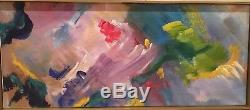 1970s Vintage Mid-Century Modern Abstract Oil Painting Framed Signed Framed