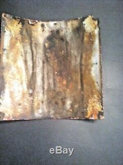 (1) ATLANTIC Porcelain Pump Plate Sign VINTAGE ORIGINAL CURVED Fried Egg Gas Oil