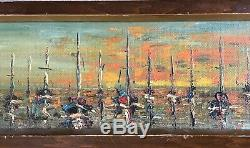 (2) Vintage 60s Mid Century Modern MCM Brutalist Oil Paintings Signed Mostek