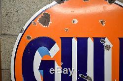 30 Vintage Round Gulf Original Porcelain Gas & Oil Advertising Sign