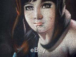 40 x 28 Vintage Signed Framed Nude Priscilla Presley Lady Velvet Painting Art