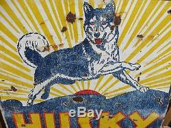 42x45 Rare Original Vintage Antique 1930 Husky Service Porcelain Oil & Gas Sign