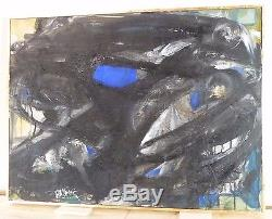 ABSTRACT EXPRESSIONIST ACTION PAINTING MID CENTURY OIL New York VINTAGE SIGNED