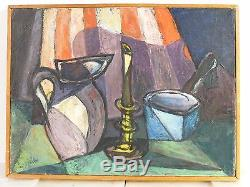 ABSTRACT MODERNIST CUBIST OIL PAINTING Mid Century Modern Signed Vintage 1958
