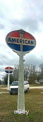 AMERICAN STANDARD Oil & Gasoline Vintage Sign Double Sided with Pole LOLLIPOP