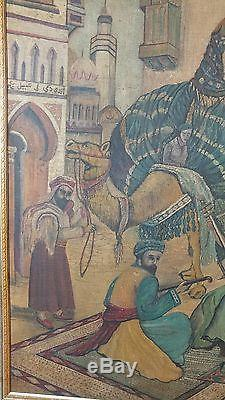 A Very LG Unusual Orientalist Painting Signed In Arabic Very Vintage