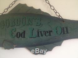 Antique Large 40 Fish Gordons Cod Liver Oil Restaurant Movie Prop Wood Sign'56