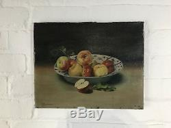 Antique Oil On Canvas Still Life Painting French Fruit Bowl Signed Vintage Apple