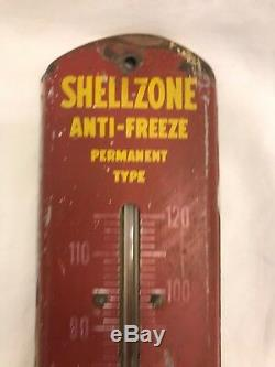 Antique Shell Oil Gas Station Thermometer Sign Working Vintage 1940s