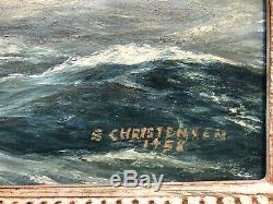 Antique Signed S Christensen Nautical Oil Painting Sea Ship Boat Primitive VTG