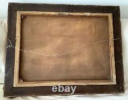 Antique Village Scene Oil on Canvas Painting 22 by 31 signed and framed