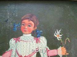 Antique Vintage Agapito Labios Oil Painting Mexico Mexican Portrait Girl Child