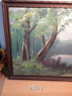 Antique Vintage Alvah Browning Oil Painting Landscape Lake Signed Framed 1920's