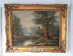 Antique Vintage Oil on Canvas Landscape Painting Signed Edward
