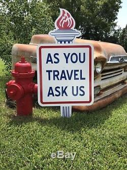 Antique Vintage Old Style Amoco Gas Oil As You Travel Ask Us Sign 46