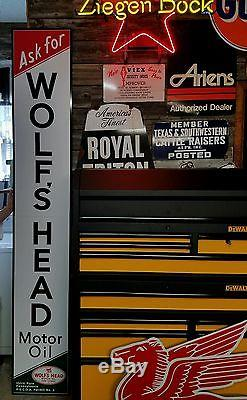 Antique Vintage Old Style Wolf's Head Oil Gas Station Sign 8 foot