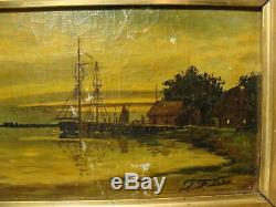 Antique Vintage Signed T. F. Lee Framed Oil Paintingas Iswow
