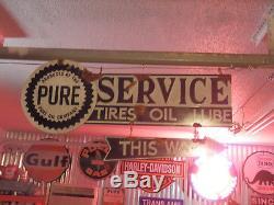 Antique style vintage look Pure oil dealer service station gas pump sign set