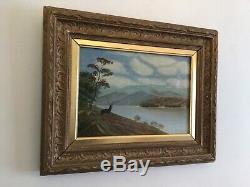Antique vintage Gilt framed Scottish Highlands Original Signed Oil Painting
