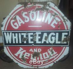Antique/vintage double sided porcelain WHITE EAGLE Keynoil gas oil advertising s