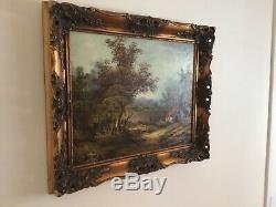 Antique vintage gilt framed original signed oil painting large landscape