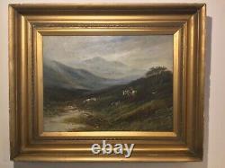 Antique vintage gilt framed original signed oil painting on canvas Scottish scen