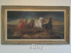 Antique vintage gilt framed signed original oil painting by artist Hans Reidman