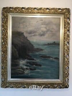 Antique vintage original signed oil painting in extremely ornate gilt frame 19c