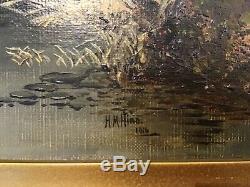 Antique vintage very old Gilt framed Signed Oil Painting on Canvas c1916
