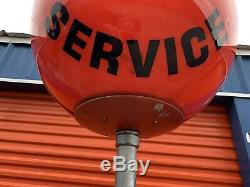 Atlantic Sign Vintage Red Ball Service Guaranteed Station Gas Oil Garage Light