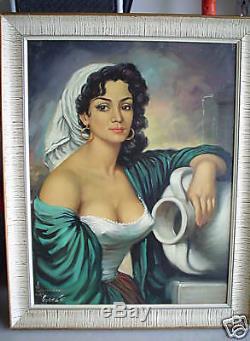 BIG Vintage 1930s Cortes SIGNED Painting Woman Portrait