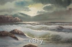 Beautiful Vintage Seascape Oil Painting, Rocky Coast, Signed Clemens NICE