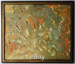 Bold Signed Vintage Abstract Expressionism Art Mid-century Modern Oil Painting