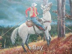 COWBOY HORSE WESTERN Vintage Painting George Bowman Listed Artist Signed