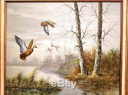 Duck Hunting Painting Oil Original John Star Signed Vintage Gold Gilt Frame 31in