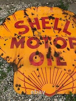EARLY ORIGINAL VinTagE SHELL MOTOR OIL Sign PORCELAIN Gas Station Oil OLD PATINA