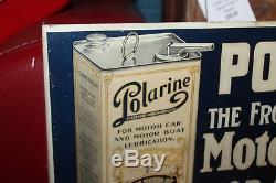 Early 1900s Original Polarine Motor Oil Advertising Vintage Steel Flange Sign