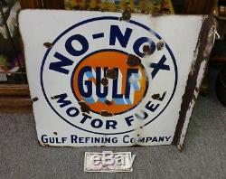 Early DSP Vintage Original Gulf Motor Oil Porcelain Flange Sign 18x 181/2