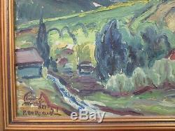 Edmond Wingen Painting Antique Vintage Impressionism Rolling Hills Landscape Mod