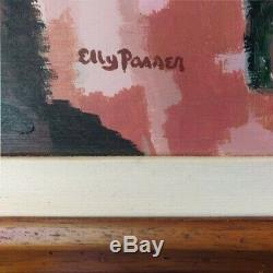 Elly Passer, Original, Signed, Vintage Mid Century Oil Painting abstract, framed